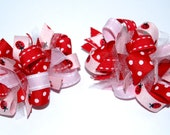 Funky Loopy Pigtail Bows - Set of 2 - Pink & Red Ladybugs ////FREE shipping over 20 dollars////
