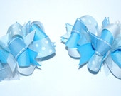 Funky Loopy Pigtail Bows - Set of 2 - Cinderella Blue & White ////FREE shipping over 20 dollars////