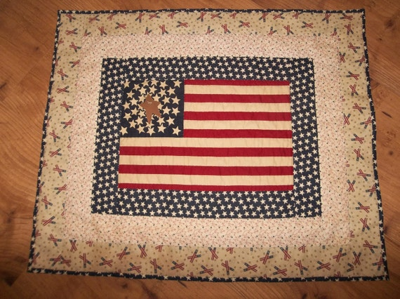 Primitive Hand Made Americana Quilt Wallhanging or Table Topper