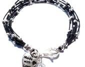 Lucky Number 7 Bracelet, Beaded Bracelet, Black Irish Waxed Linen and Sterling Silver Bracelet, Wax Linen Jewelry- Jewelry by Leandra