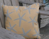 Gold Brocade Pillow/Blue Sea Stars For Your Beach House