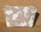 Seahorse Linen Zipper Bag/clutch