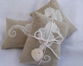 Seahorse Lavender Sachet White Handprinted on Natural Linen