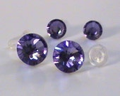 Set of 2 pairs of Swarovski crystal post earrings, Tanzanite - Chic everyday wear -  Free shipping to Canada & USA