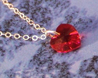 Red Swarovski necklace - Swarovski heart pendant and sterling silver chain - Love gift idea - Free shipping to Canada & USA