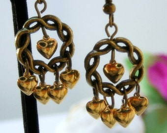 Antiqued brass earrings with shiny gold hearts - Everyday wear - Office wear - Free shipping to Canada & USA