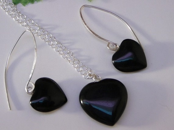 Black Obsidian gemstone heart, necklace and earrings set - healing stone - Free shipping to Canada & USA