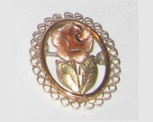 Multicolored Gold Pin with Rose Design