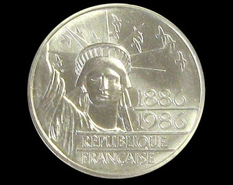 France 1986 Statue of Liberty 100th Anniversary Centennial 100 Francs Silver BU Piedfort