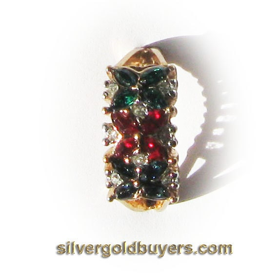 Ladies Cocktail Ring with Synthetic Emerald , Ruby, Sapphire Floral Pattern center surrounded with Diamond CZ Simulant