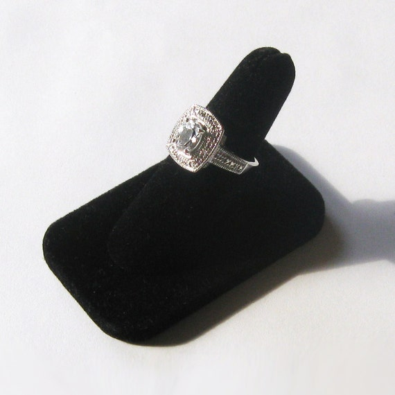 Sterling Silver Oval Shaped Diamond Simulant Antique Style Ring