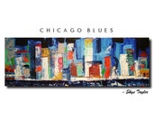 Original Abstract painting 12 x 36 - pallet knife - ready to hang - Title Chicago Blues - by Skye