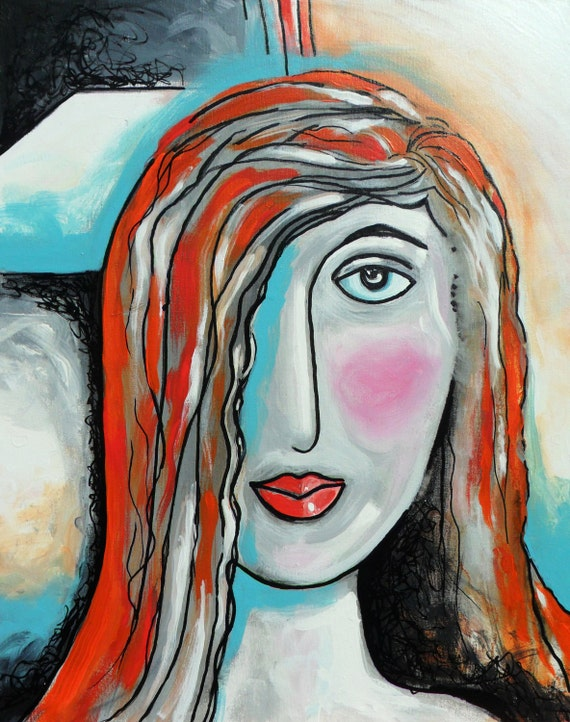 Portrait Abstract Art Woman Original painting