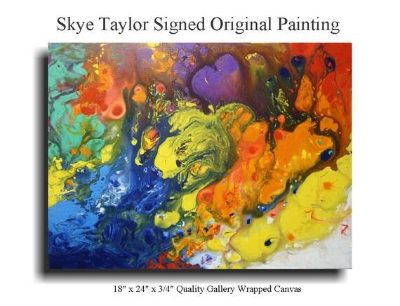 Abstract Art Modern Canvas Original Painting - I'm a Drifter - 18 x 24 - Skye Taylor Artist