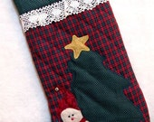 Plaid Christmas Stocking - Quilted - Snowman with Tree - SallyManke
