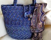 Coiled Rope Tote  Marine Blue  Magnetic Closing