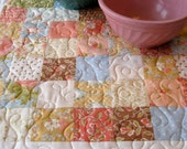 Quilted Table Topper, Wall Hanging, Blue, Peach and Tan