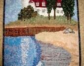 Art Quilt  Point Betsie Lighthouse Frankfort Michigan Confetti Quilt Wall Hanging