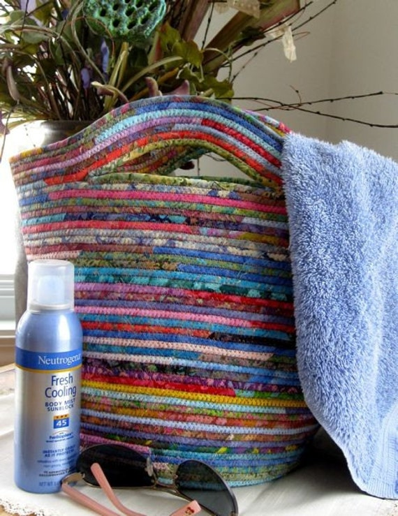 Repurposed Clothesline Coiled Fabric Basket Tote Bag By