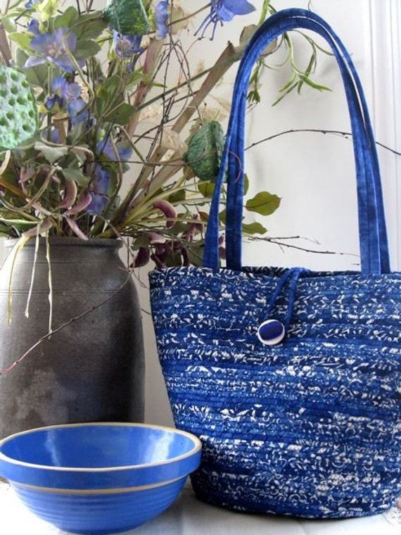 Coiled Rope Tote Clothesline Blue And White By Sallymanke