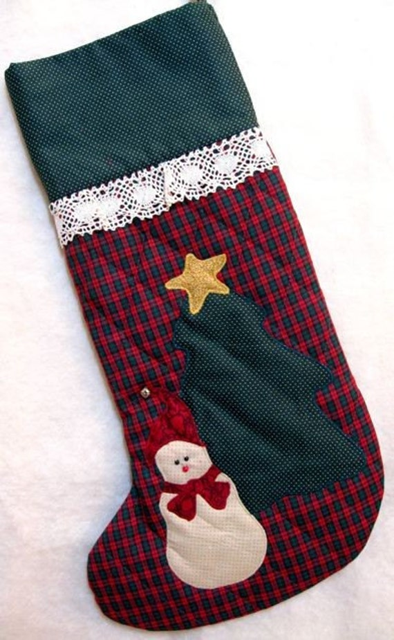 Plaid Christmas Stocking   Quilted  Snowman with Tree
