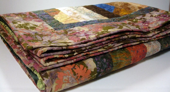 Quilted Lap Throw Cottage Chic Batik