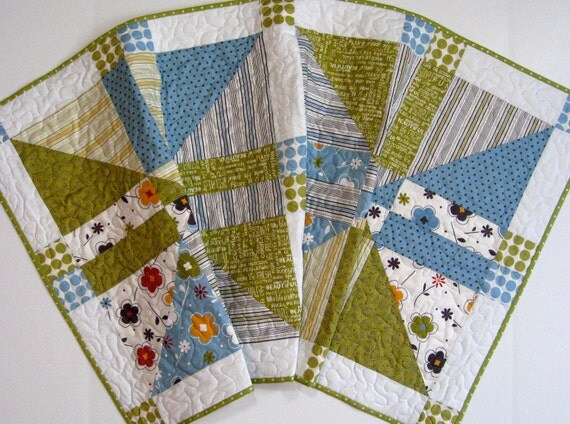 Quilted Table Runner in Sky Blue and Sage Green