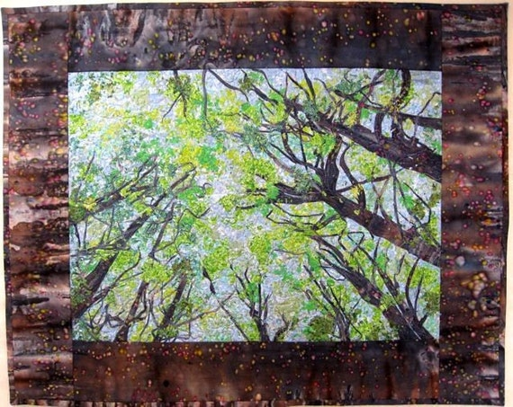 Fiber Art Quilt - Spring Trees - Wall Hanging