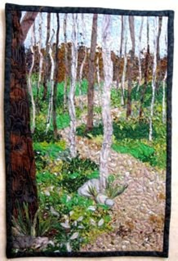 Art Quilt  Arcadia Dune Trillium Trails  Wall Hanging