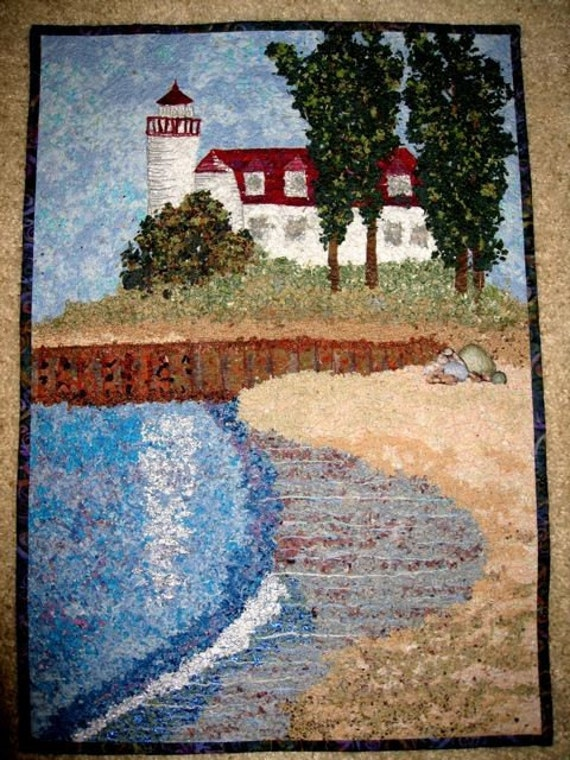 Art Quilt  Point Betsie Lighthouse Frankfort Michigan Confetti Quilt Wall Hanging