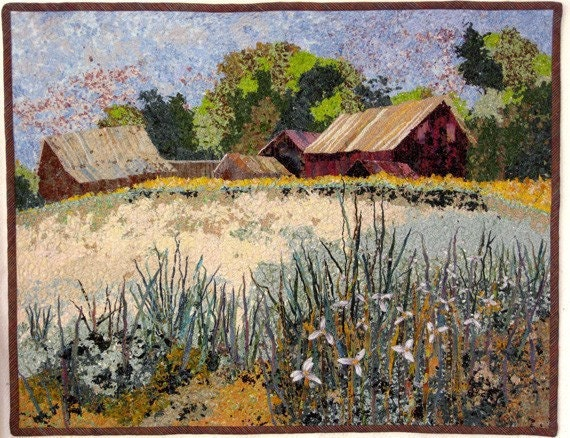 Art Quilt Michigan Confetti Farm Landscape Fiber Art Wall Hanging