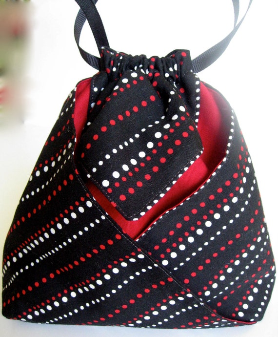 Origami Tote - Drawstring Pouch - Black, White, Red