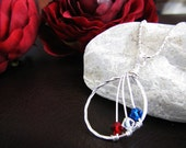Birthstone Necklace,  3 wishes-  Red, White and Blue Crystal Necklace with Personalized card