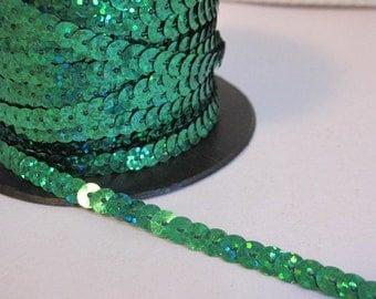 5 Yards Shimmering Green Sequin Trim - 05