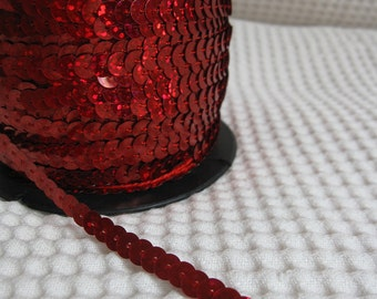 5 Yards Shimmering Red Sequin Trim - 25