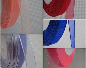5 Yards Sheer Organza Ribbons 1/2 inch - choose your own colour