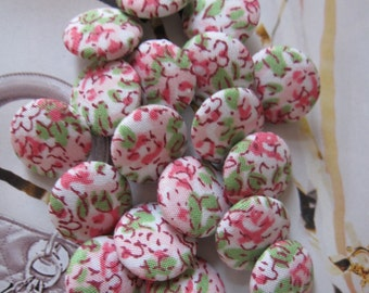 6 Fabric Covered Tiny Buttons - Pink Floral - 1.3 cm