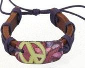 Genuine Leather Peace Butterfly Bracelet