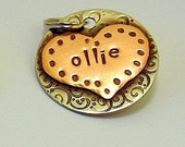 Custom pet ID tag- personalized mixed metal tag for dogs and cats-  the Ollie