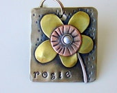 Rosie- mixed metal pet id tag