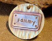 Pet Tag- large metal dog id tag- Large Sammy