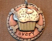 Custom pet ID tag- personalized mixed metal tag for dogs and cats-  Cute Cupcake