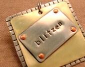 Blitzen- mixed metal pet id tag