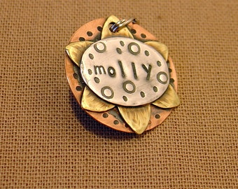 custom dog id tag- Sunflower in mixed metal -molly