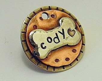Custom dog tag- unique metal tag for dogs and cats- Cody