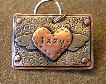 Custom ID tag for large dogs or key ring- Soaring Heart- mixed metal pet id