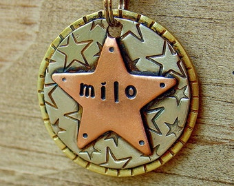 To the stars custom pet id tag- medium tag for dogs and cats