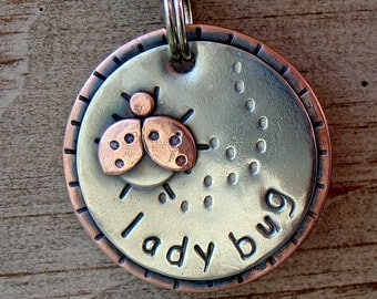lady bug Dog ID Tag and key fob-  Lady Bug