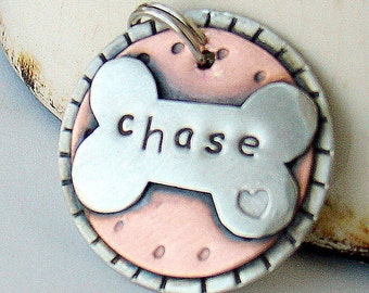 Dog tag - dog id tag - Dog Collar Tag - Pet ID Tag - Hand stamped - Bone Pet Tag - Engraved - Custom Dog tag - Personalized- Cody