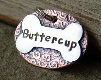 Custom pet ID tag- personalized mixed metal tag for dogs and cats-  the Buttercup